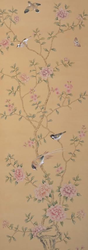中式古典真丝手绘花鸟壁纸-ID:4012878