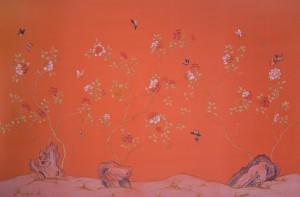 中式古典真丝手绘花鸟壁纸-ID:4013449