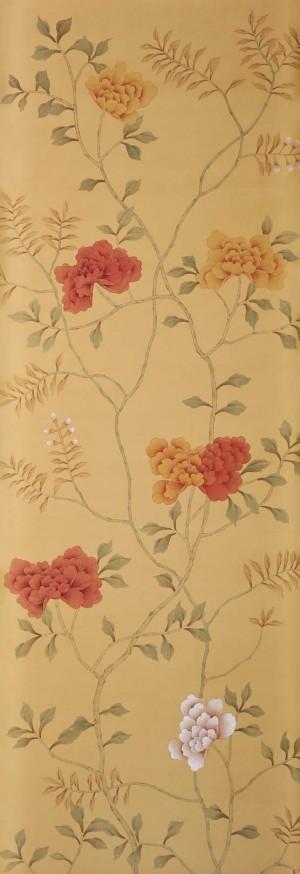 中式古典真丝手绘花鸟壁纸-ID:4013691