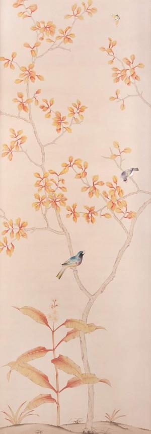 中式古典真丝手绘花鸟壁纸-ID:4014001