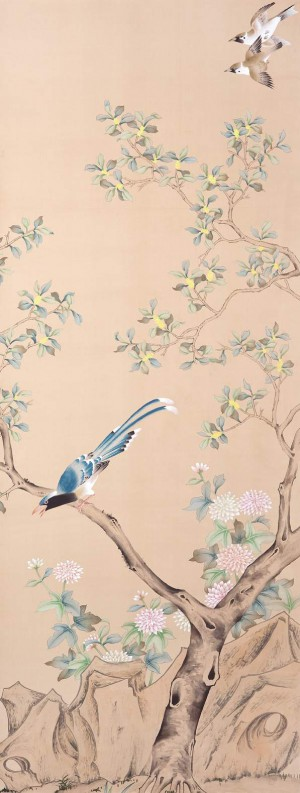 中式古典真丝手绘花鸟壁纸-ID:4014077