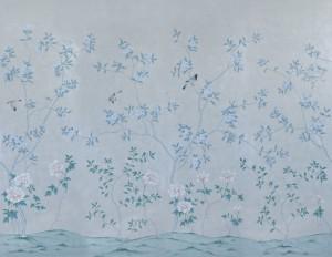 中式古典真丝手绘花鸟壁纸-ID:4014212