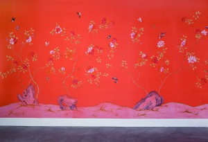 中式古典真丝手绘花鸟壁纸-ID:4014982