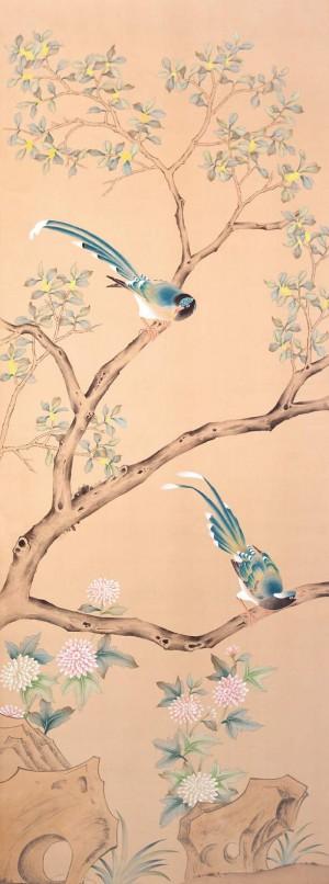 中式古典真丝手绘花鸟壁纸-ID:4015234