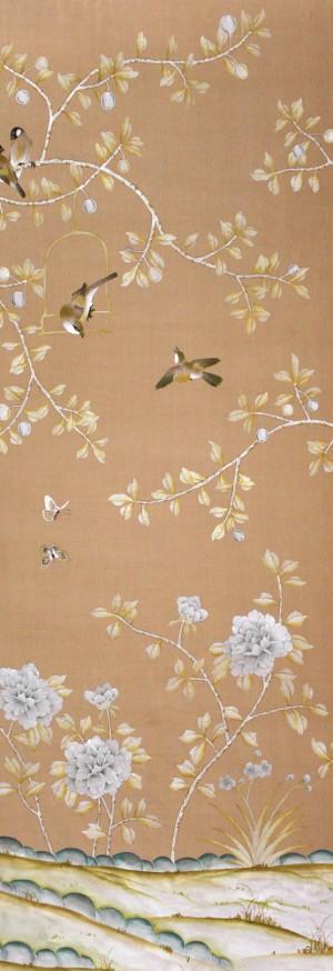 中式古典真丝手绘花鸟壁纸-ID:4015285