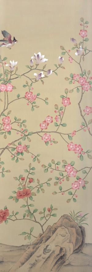 中式古典真丝手绘花鸟壁纸-ID:4015287