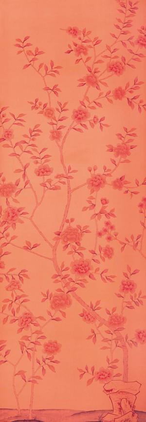 中式古典真丝手绘花鸟壁纸-ID:4015705