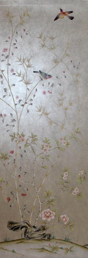 中式古典真丝手绘花鸟壁纸-ID:4015751