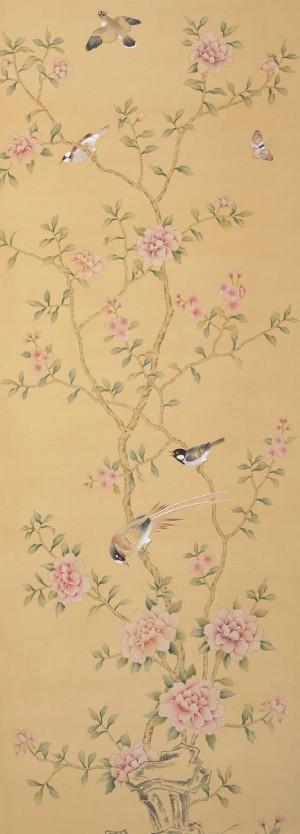 中式古典真丝手绘花鸟壁纸-ID:4015921