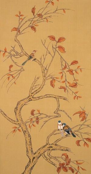 中式古典真丝手绘花鸟壁纸-ID:4017010