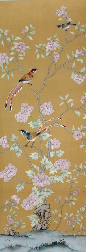 中式古典真丝手绘花鸟壁纸-ID:4017475