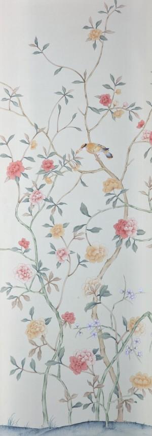 中式古典真丝手绘花鸟壁纸-ID:4017501