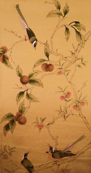 中式古典真丝手绘花鸟壁纸-ID:4018052