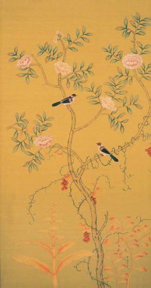 中式古典真丝手绘花鸟壁纸-ID:4018536