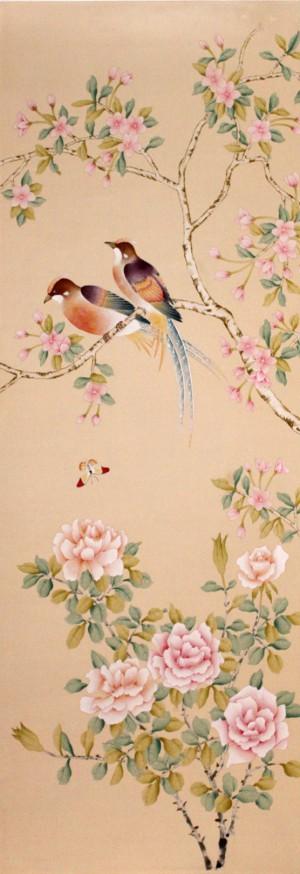 中式古典真丝手绘花鸟壁纸-ID:4018764